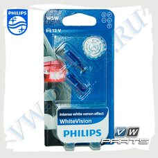 Лампа W5W Philips White Vision 12V (блистер, к-т 2 шт.) 12961NBVB2