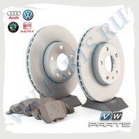 Комплект передних тормозных дисков с колодками VAG