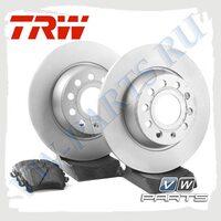 Комплект задних тормозных дисков с колодками TRW 1798009