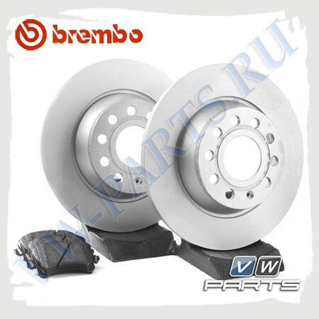 Комплект задних тормозных дисков с колодками Brembo 1798013