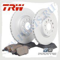 Комплект передних тормозных дисков с колодками Trw 1798016