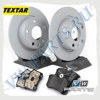 Комплект задних тормозных дисков с колодками Textar