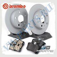 Комплект задних тормозных дисков с колодками Brembo