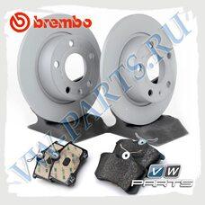 Комплект задних тормозных дисков с колодками Brembo 1798048